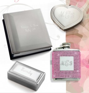 Flask with Pink Crystals and monogrammed, Engraved heart compact, Engraveable Album Cover