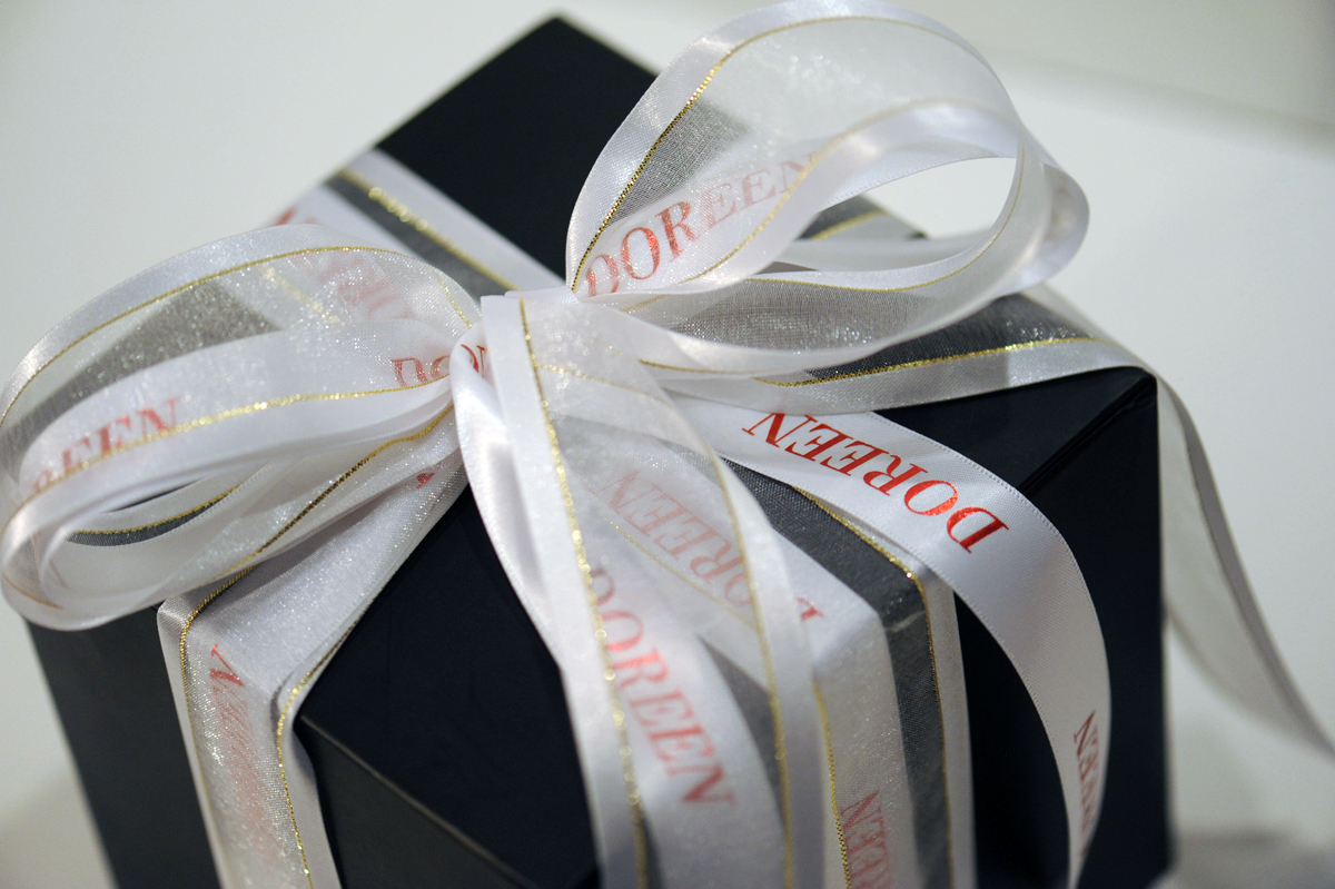 Personalized White Ribbon with Red Imprint Message or Name on It
