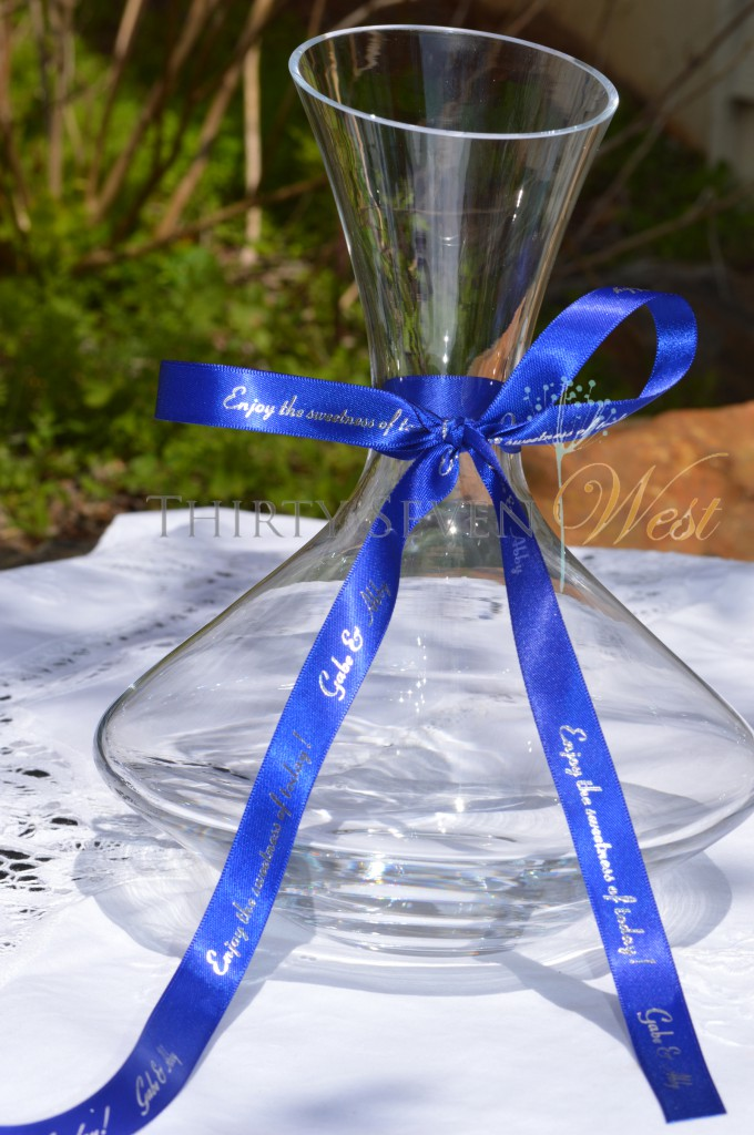Personalized Ribbon on Wedding Vase