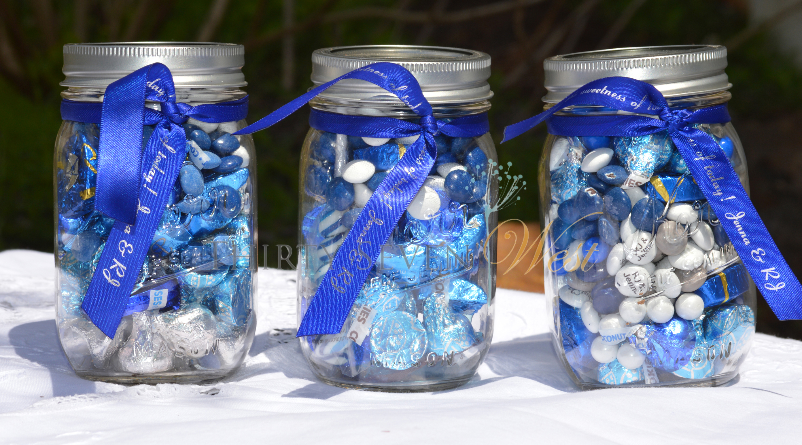 Personalized Printed Ribbon on Mason Jars for Weddings