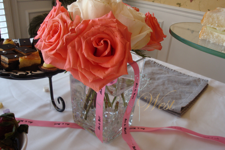 Personalized Printed Ribbon on Vase for Event Decor