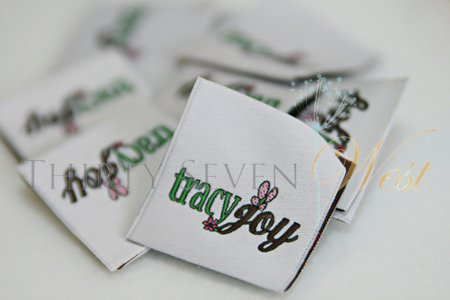 Tracy Joy Custom Woven Labels, Custom woven labels, custom labels, woven labels, apparel labels, custom apparel labels, garment labels, custom garment labels, clothing labels, cloth labels, cloth tags, clothing tags
