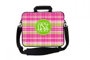 Pink and Green Plaid Monogrammed Laptop Case