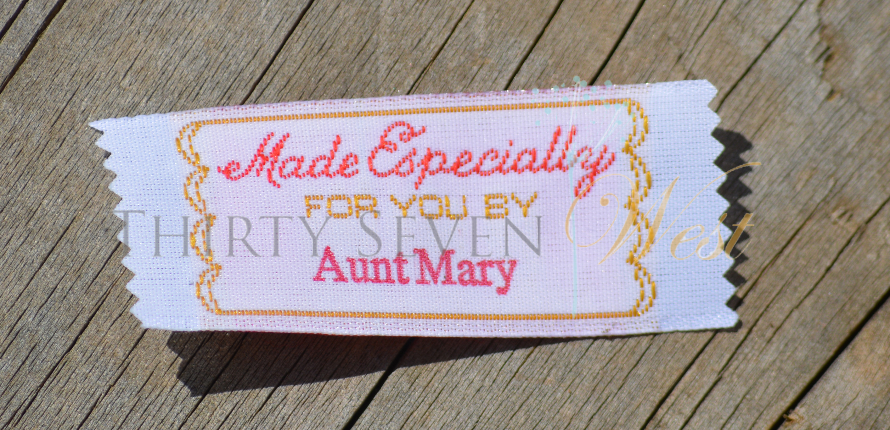 Made Especially for you by Woven Fabric Labels