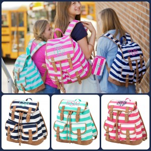 Campus Bag, striped Campus Bag, monogrammed Campus Bag, personalized, Campus Bag, backpack, monogrammed backpack, personalized backpack, striped backpack, pink, blue, mint, BLACK FRIDAY SALE