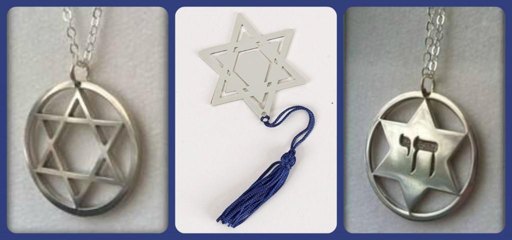 Chanukah Jewelry, Chaunukah Bookmark, Personalized Hanukkah Bookmark, Judaica Star of David with Chai Pendant, Star of David Judaica Pendant, Hanukkah Gifts, Personalized Chanukkah GIfts