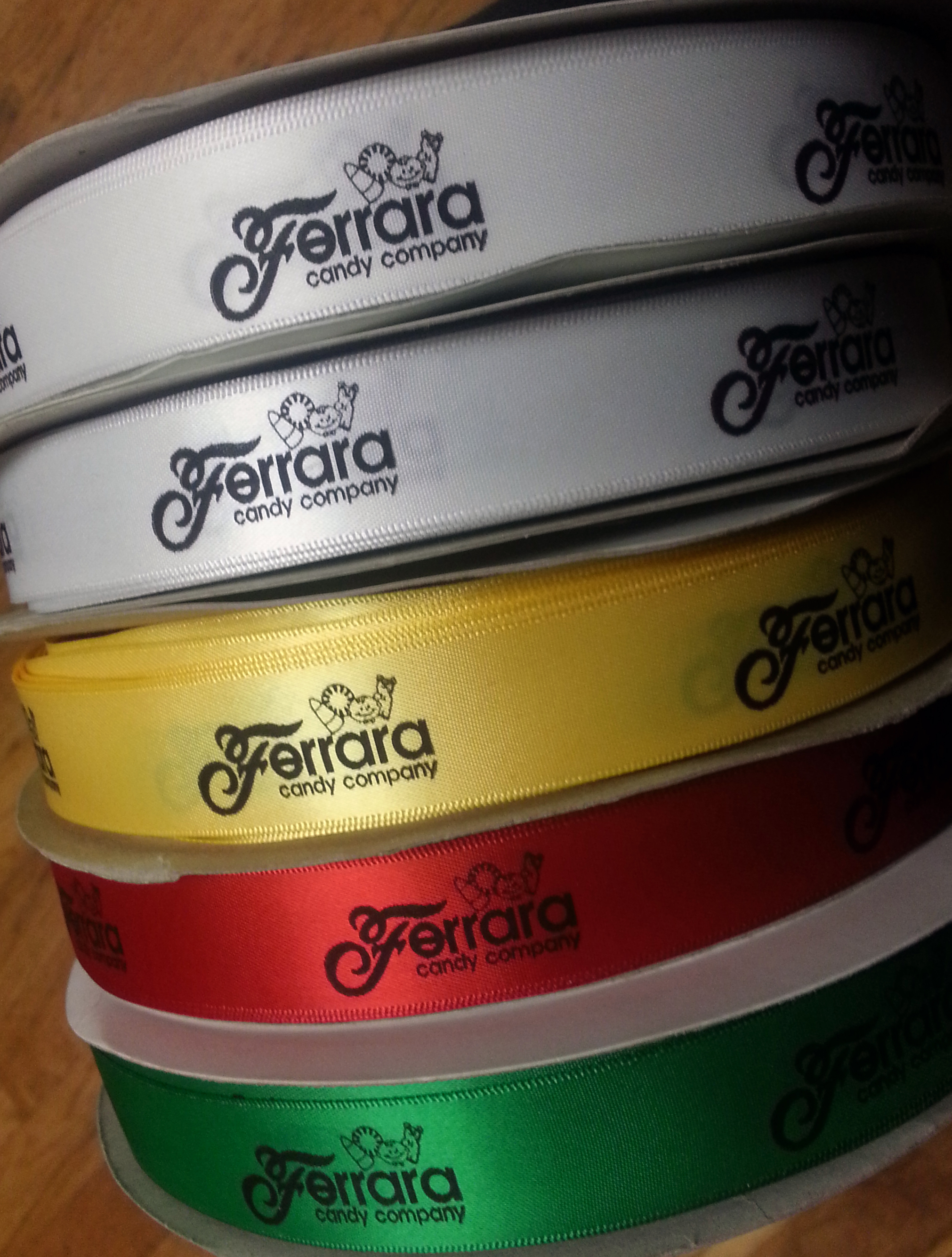 Ferrara Candy company, ferrara candy, custom logo ribbon, logo ribbon, personalized printed ribbon, printed logo ribbon, custom ribbon, company ribbon, corporate ribbon, christmas ribbon, gift ribbon