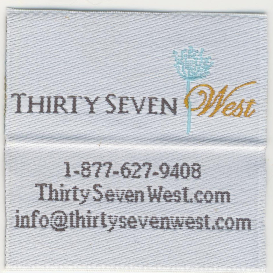 Thirty Seven West Custom Woven Labels , Thirty Seven West, Custom woven labels, quality woven labels, woven tags, woven labels, custom tags, apparel labels, apparel tags,