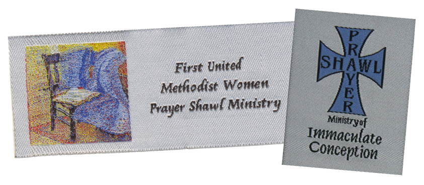 Custom Woven Prayer Shawl Labels, Custom Woven Labels, Prayer Shawl Labels, Prayer shawls, Prayer shawl ministry, personalized prayer shawl labels, personalized woven labels, woven tags, woven labels, labels for prayer shawls, Prayer Shawl Ministry of FPC