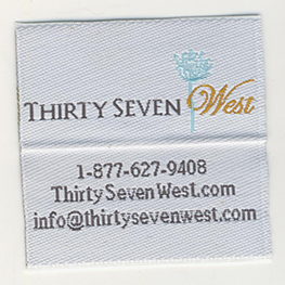 custom woven labels, custom labels, clothing labels, apparel labels, personalized labels, woven labels, logo labels, custom logo labels, iron on labels, iron-on labels, woven damask labels, damask labels, woven satin labels, satin labels, woven iron-on labels, garment labels, labels for garments, sew in labels, sew on labels, Clothing manufacturer, Clothing label manufacturer, label manufacturer, folded labels, center folded labels, care labels, content labels, woven care labels, woven content labels, soft labels, washable labels, baby labels, labels for baby clothing, die cut labels, labels cut into shapes, tshirt labels, t-shirt labels, labels for clothes, custom clothing labels, Thirty Seven West labels, Thirty Seven West