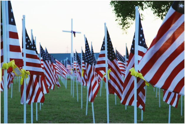 Memorial Day 2017 - These flags come with many tears. Touch a heart with a gift of love and a personal message on a ribbon for a keepsake, custom ribbon, custom ribbons, personalized ribbons,