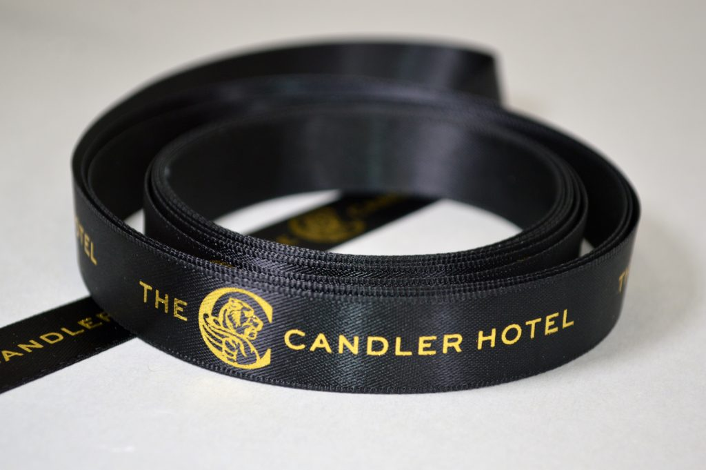 branded ribbon, Custom Logo ribbon, logo ribbon, Ribbon with logo ribbon, Printed Logo Ribbon, Company Logo RIbbon, black ribbon, satin logo ribbon, Black satin ribbon, logo printed ribbon
