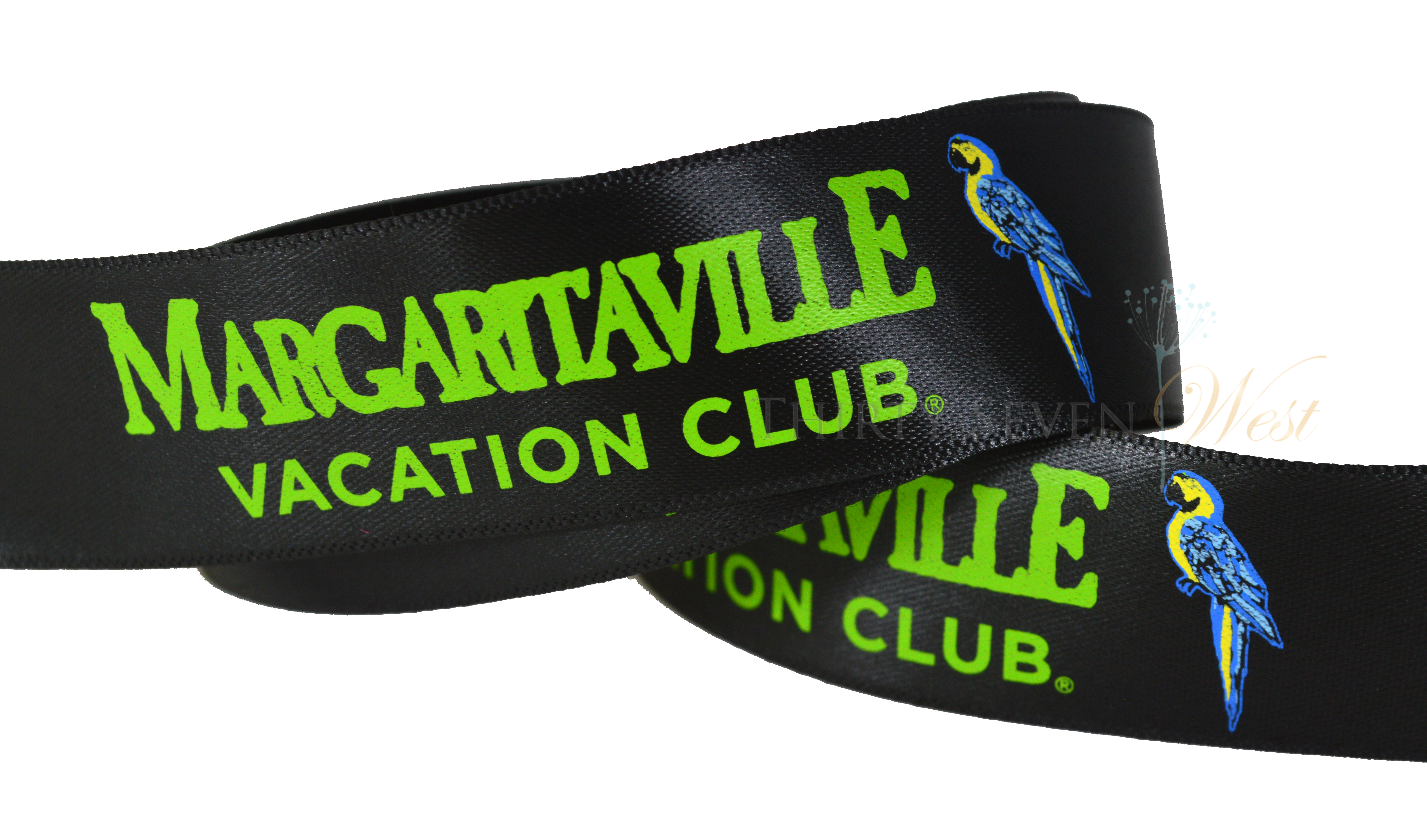 Margaritaville Custom Ribbon, Custom Ribbon, Custom Ribbon With Multi Color Logo, Ribbon With Multi Color Logo for company branding, Custom logo Ribbon, Custom branding ribbon, custom ribbon with logo, custom ribbon with company logo, custom branding ribbon
