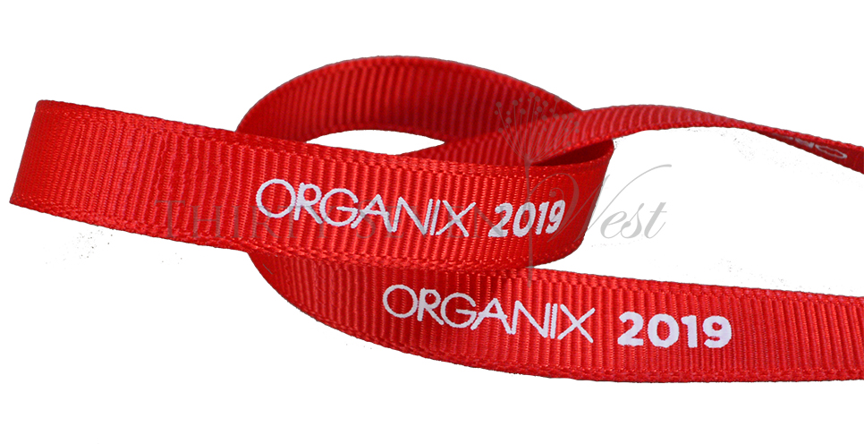 Grosgrain Ribbon, Custom Logo Ribbon, Printed Logo Ribbon, Branded Ribbon, white print on ribbon, ribbon with logo, Custom Branded Ribbon, Company Logo Ribbon, Business Logo RIbbon