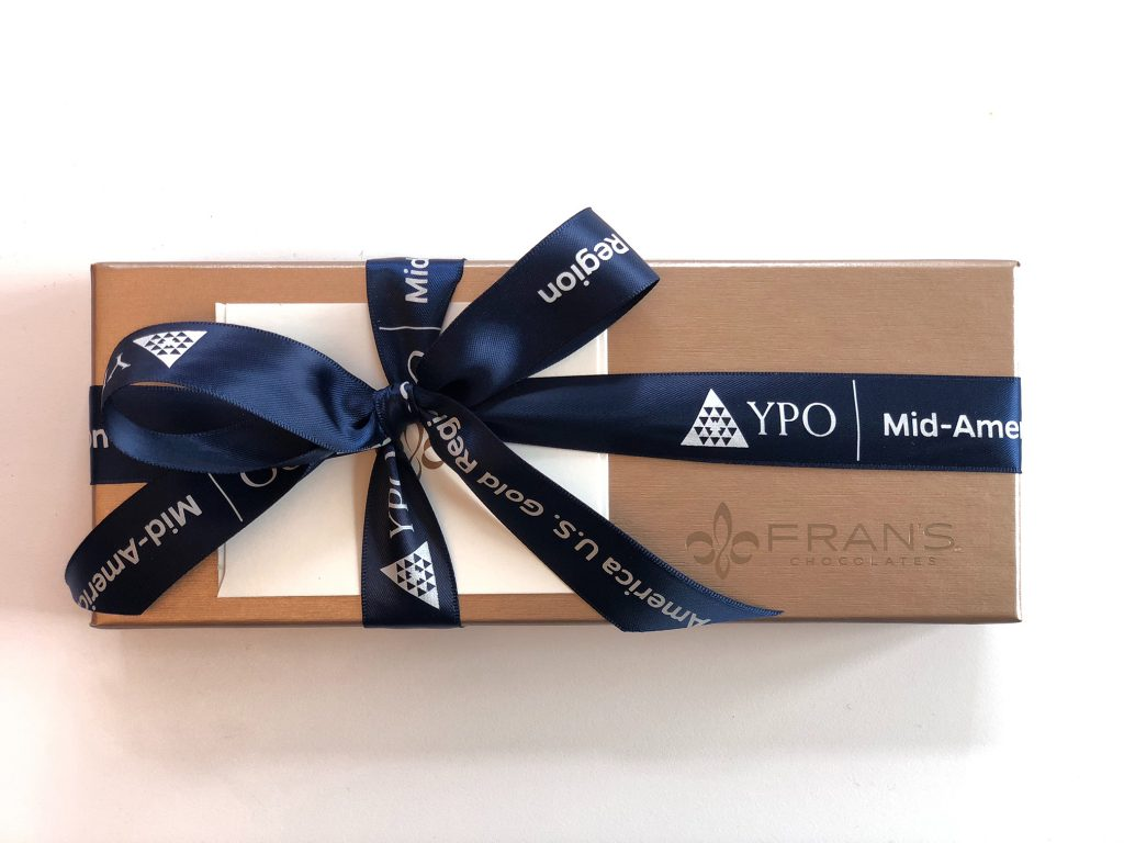 Custom Logo Ribbon on a Box, YPO Ribbon, Favor Bags