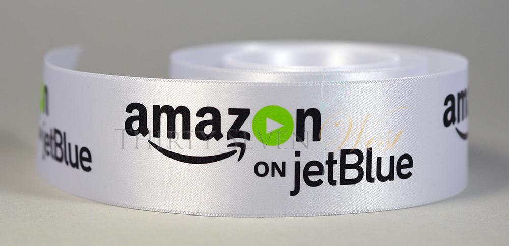 Multi Color Logo Ribbon, Full Color Logo Ribbon, 4 Color Logo Ribbon, Four Color Logo Ribbon, Pantone Color Logo Ribbon, PMS Color Logo Ribbon, Multi Color Custom Ribbon, Amazon on jetBlue, Custom Ribbon, Custom Logo Ribbon