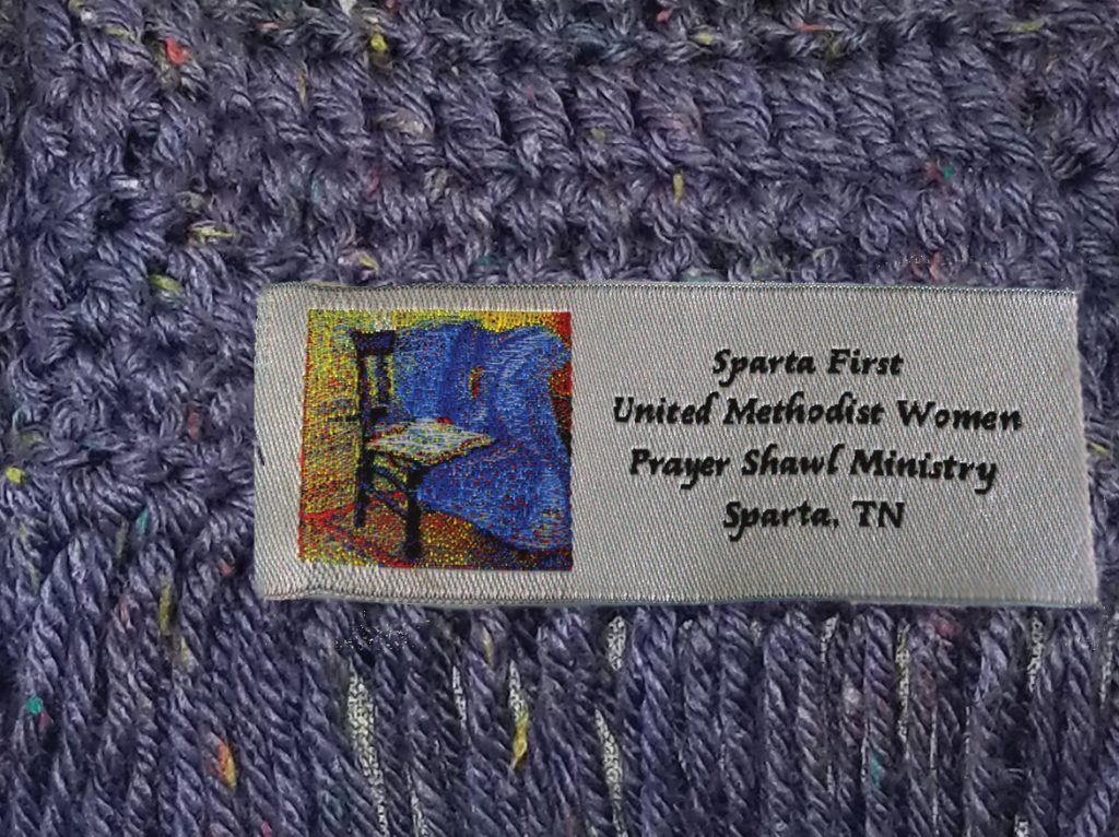 Sparta First United Methodist Church, Prayer Shawl Ministries, Prayer Shawl Ministry, Prayer Shawl Labels, Custom Prayer Shawl Labels, Custom Woven Labels, custom embroidered label, Custom Labels, Woven Labels, Labels with Artwork, Custom Woven Label Design, Quality Woven Labels, Ministry Labels, Labels for Knitting, Labels for Blankets, Labels for Prayer Shawls, Labels for Quilts