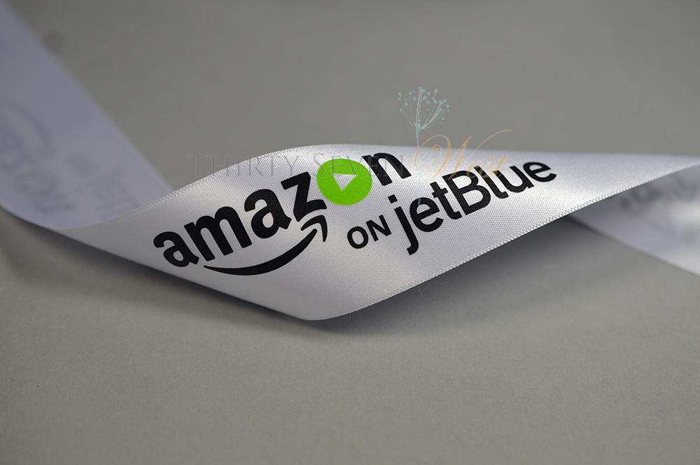 Custom Logo Ribbon, White Satin Ribbon, Custom Print PMS Ribbon, Custom Ribbon Printing