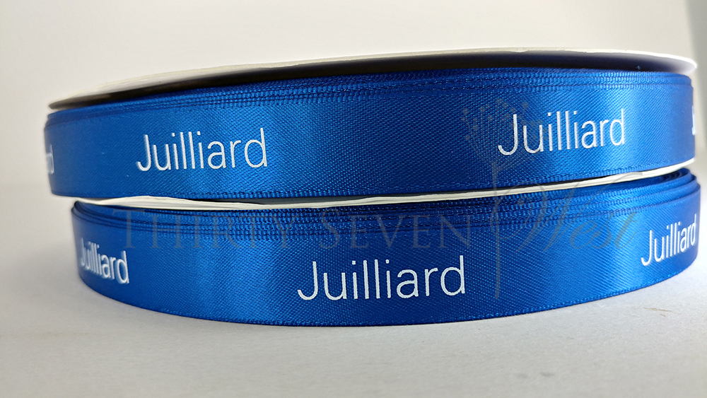 Juilliard Custom Logo Ribbon, Custom Dyed Pantone Matching Ribbon Logo, Custom Printed PMS Ribbon