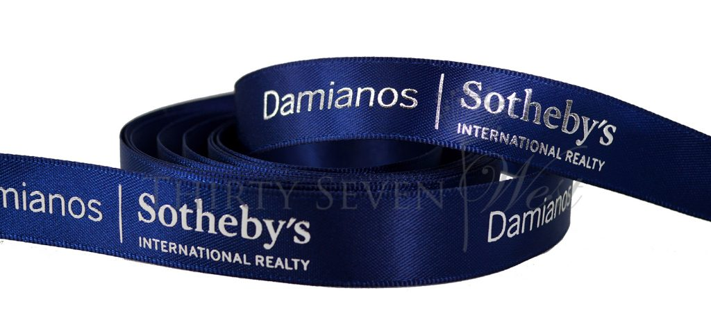 Sotheby's - Raised Metallic Print, Custom Logo Ribbon, Company Logo Ribbon, Ribbon with Company Logo, Custom Printed Logo Ribbon, Custom ribbon, personalized printed ribbon, printed ribbon, logo ribbon, satin ribbon, corporate ribbon, custom logo ribbon, custom ribbon wholesale, Custom logo ribbon wholesale