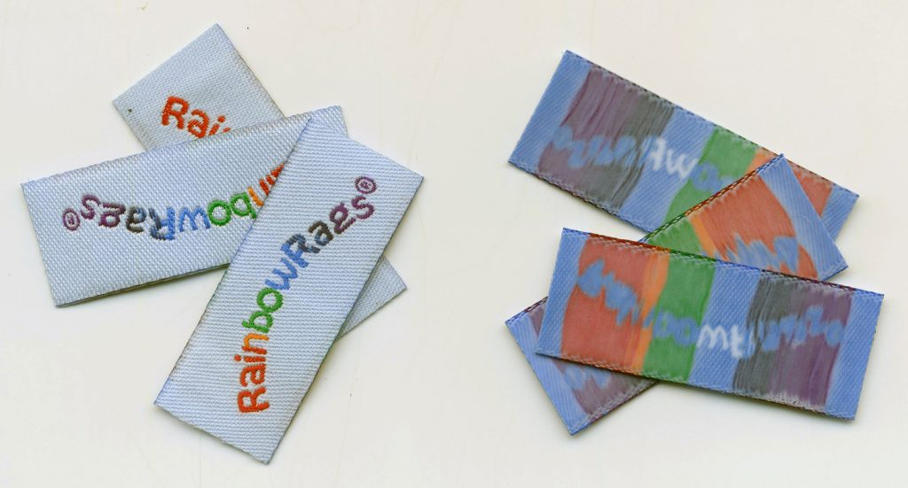 Iron on Labels, iron on backing on labels, custom labels with iron on backing, custom woven iron on labels, personalized iron on labels