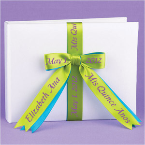 Quinceanera Guest Book with Personalized Ribbon
