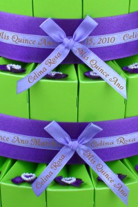 Quinceanera Favor Cake with Personalized Ribbon