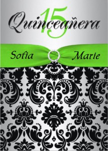 Quinceanera Invitation with Personalized Ribbon