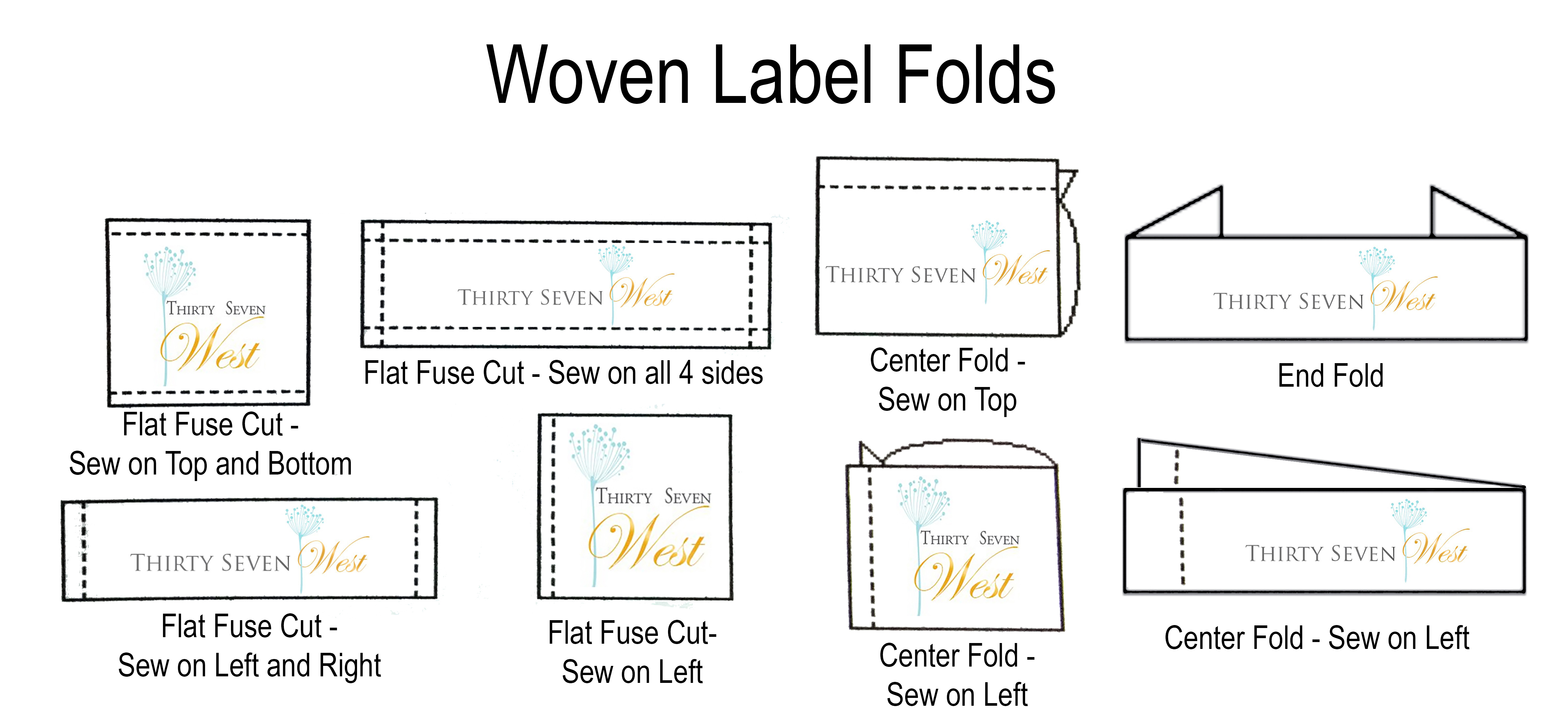 Custom Woven Label Folds, custom woven labels, personalized labels, custom labels, personalized woven labels, fabric labels, custom fabric labels, personalized fabric labels, Flat labels, End fold labels,
