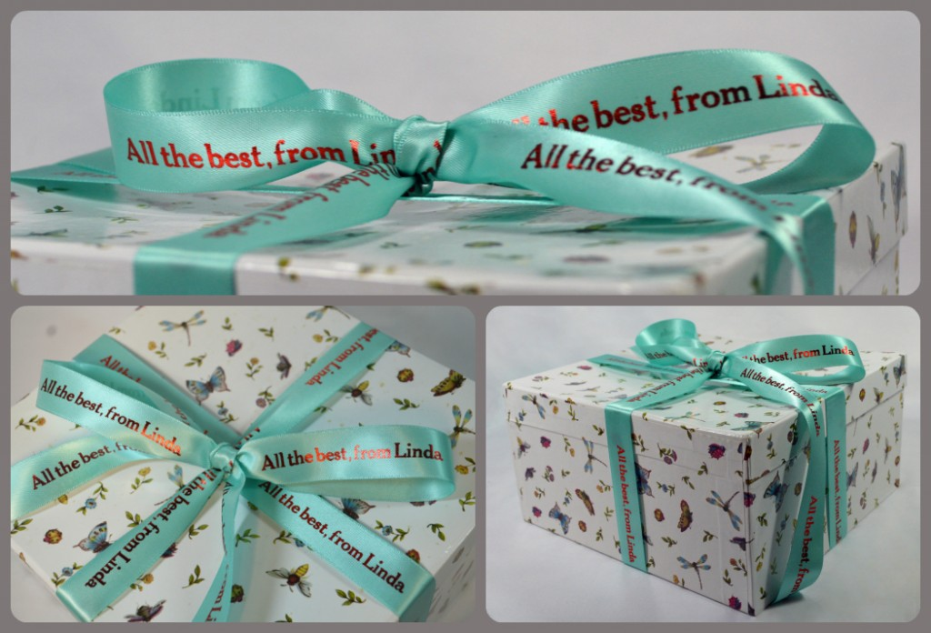 All the best, from Linda ribbon on box collage