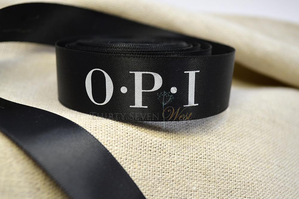 Custom Ribbon, Custom logo ribbon, Company ribbon, corporate ribbon with company logo, OPI ribbon, custom printed satin ribbon with logo
