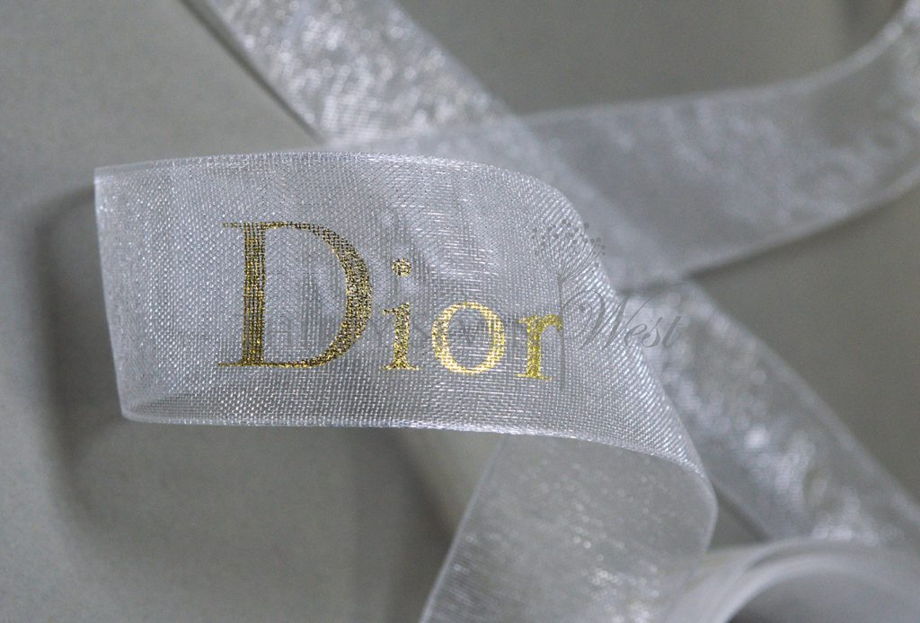 Organza Custom Logo Ribbon, Custom Logo Ribbon, Metallic Print on Organza, White Custom Logo Ribbon